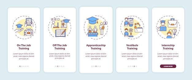 Metody szkolenia personelu wprowadzające ekrany aplikacji mobilnej z koncepcjami. przewodnik po edukacji w miejscu pracy i poza nim. 5-stopniowe instrukcje graficzne. szablon ui z kolorowymi ilustracjami rgb