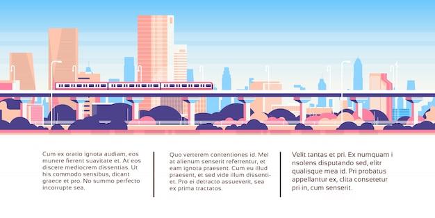 Metra jednoszynowy nad miasto drapacza chmur biznesowym infographic szablonu pejzażem miejskim