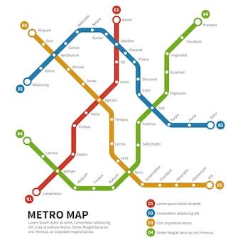 Metro, mapa wektorowa metra. szablon schematu transportu miejskiego. schemat mapa metra, droga metra metra, ilustracja metra transportu kolejowego