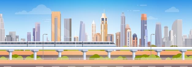 Metro nad miastem wieżowiec zobacz panoramę miasta tło