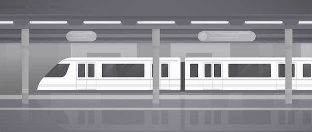 Metro, peron podziemny z nowoczesnym pociągiem. poziome monochromatyczne ilustracji wektorowych w stylu płaski.
