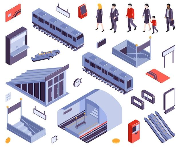 Metro stacje metra bilet wstępu brama wyjście schody schody ruchome pociąg wagon kolejowy ludzie izometryczny zestaw ilustracji