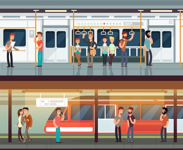 Metro w środku z ludźmi i waman. platforma metra i wnętrze pociągu. metro miejskie