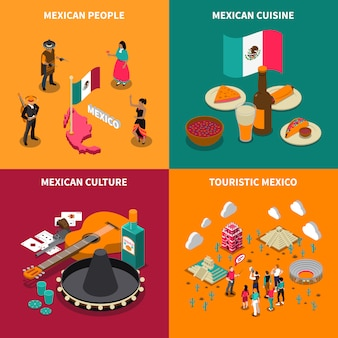 Mexico touristic 4 isometric icons square