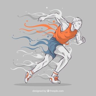 Mężczyzn biegnie w tle