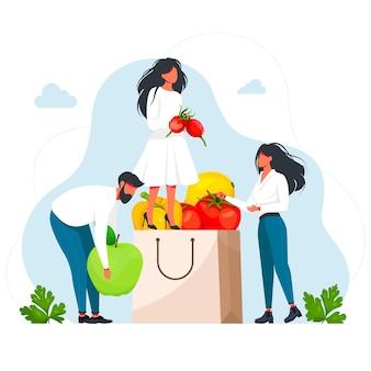 Mężczyzn i kobiet posiadających naturalne produkty. zdrowa świeża żywność, owoce, warzywa. wegetarianizm. ludzie pakujący papierową torbę ze świeżymi owocami i warzywami. żywienie organiczne, dieta. ilustracja wektorowa
