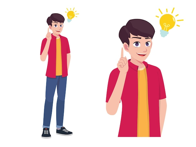 Mężczyzn lub chłopiec myśli i mam pomysł wyrażenie stanowią ilustracja kreskówka