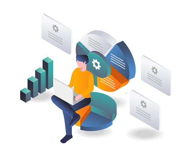 Mężczyzna analizuje wykresy kołowe dla biznesu inwestycyjnego