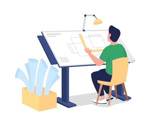 Mężczyzna architekt w pracy płaski kolor wektor bez twarzy znaków. projektant rysunek plan podłogi. profesjonalne warsztaty izolowane ilustracja kreskówka do projektowania grafiki internetowej i animacji