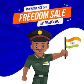 Mężczyzna armii indyjskiej trzyma w ręku flagę na sprzedaży wolności