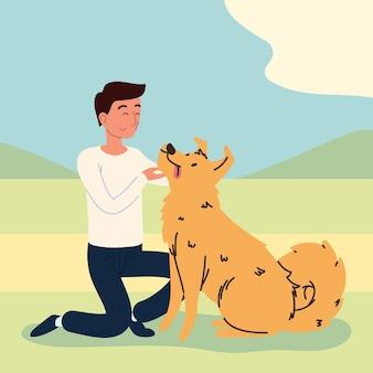 Mężczyzna bawiący się z psem