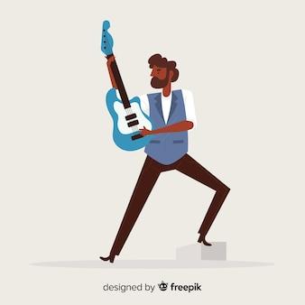 Mężczyzna bawić się gitary tło