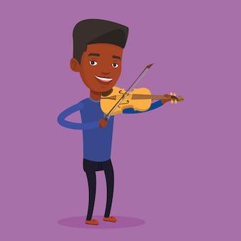 Mężczyzna bawić się skrzypcową ilustrację.