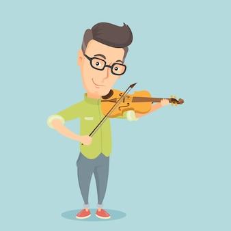 Mężczyzna bawić się skrzypcową wektorową ilustrację.
