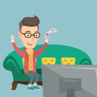 Mężczyzna bawić się wideo gry wektoru ilustrację.
