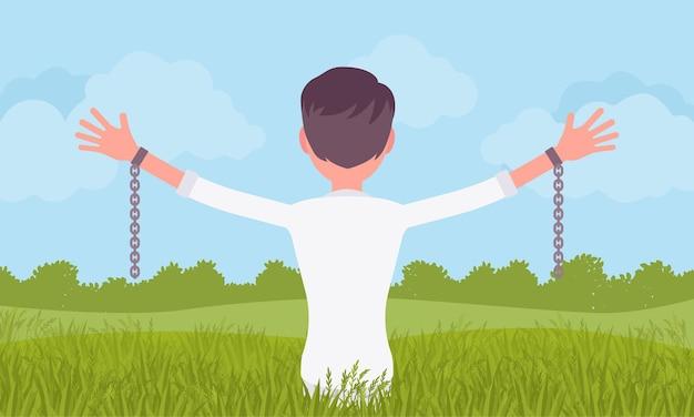 Mężczyzna bez łańcucha z wyciągniętymi ramionami, widok z tyłu