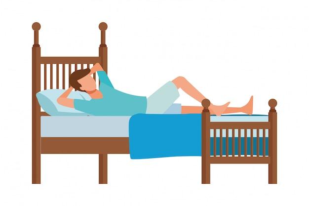 Mężczyzna bez twarzy odpoczynek łóżko