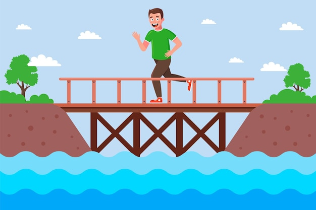 Mężczyzna biegacz przecina rzekę przez drewniany most. mieszkanie
