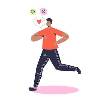 Mężczyzna biegacz za pomocą trackera smartwatch podczas joggingu. młody człowiek działa z urządzeniem z opaską na rękę. elektroniczny pasek do zegarka dla koncepcji joggingu
