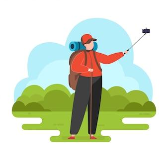 Mężczyzna bierze selfie, wycieczkuje ilustrację