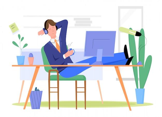 Mężczyzna biznesmen łama i relaksuje przy miejscem pracy w biurowym ilustracyjnym pojęciu.