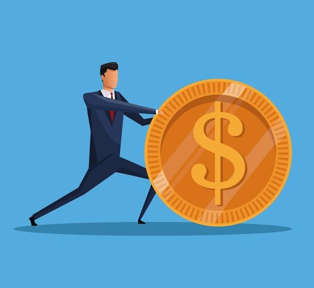 Mężczyzna biznesowa pieniądze gospodarka finansowa