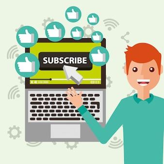 Mężczyzna blogger wskazujący laptop subskrybuje polubienia
