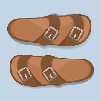 Mężczyzna brown przypadkowy trzepnięcie klapy sandała butów wektor