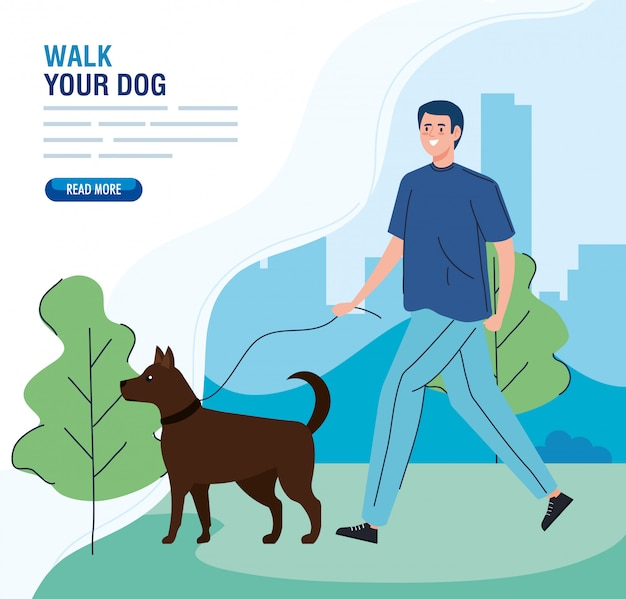 Mężczyzna chodzi twój psa w parku