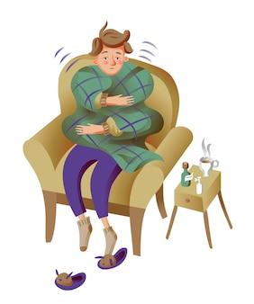 Mężczyzna cierpiący na płaski ból głowy, mdłości, chorobę, gorączkę, wysoką temperaturę ciała. chłopiec siedzi w fotelu z kocem na białym tle clipart, grypa, ilustracja objawy grypy