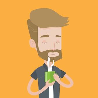 Mężczyzna cieszy się filiżankę gorąca kawa