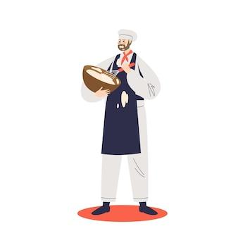 Mężczyzna cukiernik robi ciasto lub śmietanę w misce mieszania składników ilustracji
