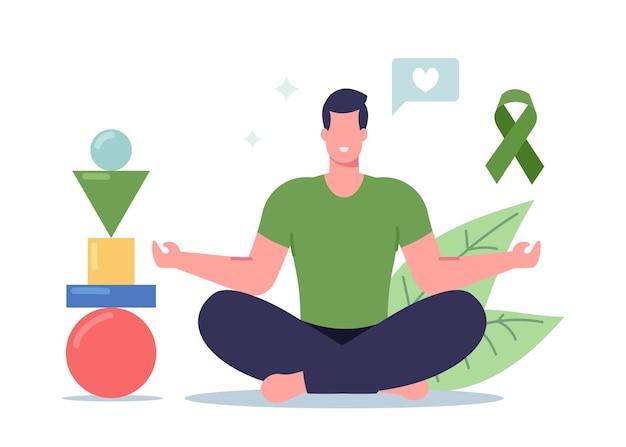 Mężczyzna ćwiczący jogę ze zrównoważonymi figurami piramida