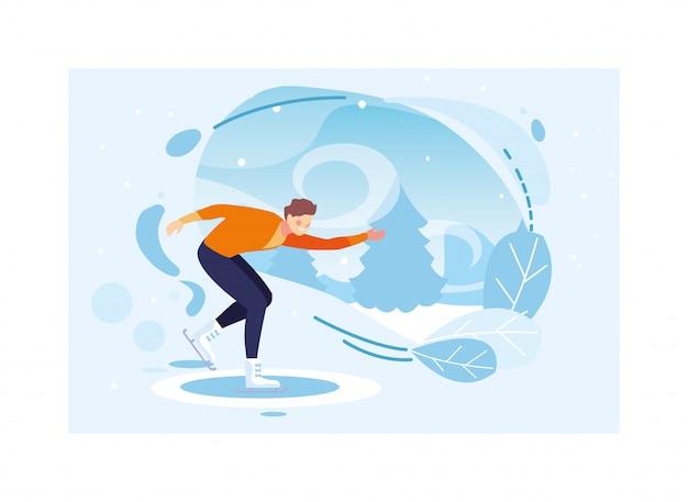 Mężczyzna ćwiczy łyżwiarstwo figurowe z krajobrazem zima