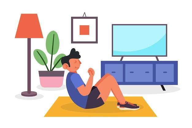 Mężczyzna ćwiczy w żywym pokoju