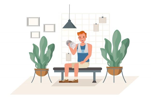 Mężczyzna ćwiczy z dumbbells charakterem w domu. pojęcie zdrowego stylu życia i odnowy biologicznej.