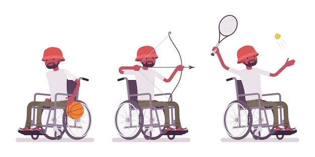 Mężczyzna czarny młody użytkownik wózka inwalidzkiego i aktywność sportowa. baw się dobrze, rywalizuj w tenisa, łucznictwo. niepełnosprawność, koncepcja medycznej polityki społecznej. ilustracja kreskówka styl, białe tło