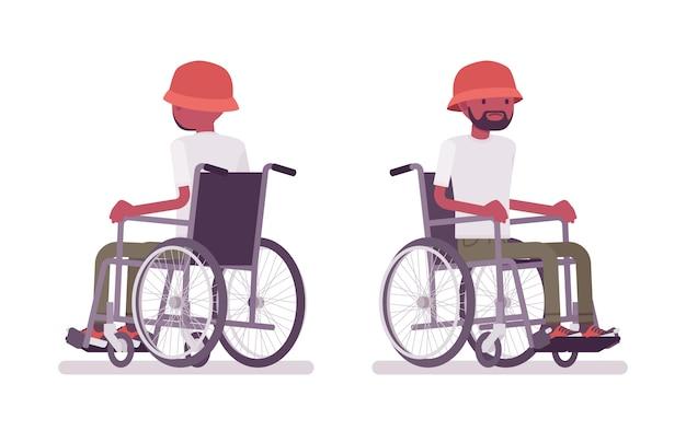 Mężczyzna czarny młody użytkownik wózka inwalidzkiego. skutek choroby, urazu lub wypadku. niepełnosprawność, koncepcja medycznej polityki społecznej. ilustracja kreskówka styl, białe tło. widok z przodu, z tyłu