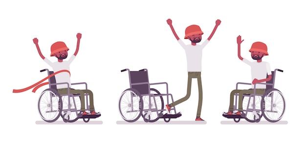 Mężczyzna czarny młody użytkownik wózka inwalidzkiego w pozytywnych emocjach. program szkolenia umiejętności, rehabilitacja. niepełnosprawność, koncepcja polityki społecznej. ilustracja kreskówka styl, białe tło.