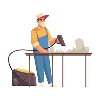Mężczyzna czyściciel w stole do czyszczenia maski z płaską ilustracją profesjonalnej maszyny