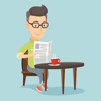 Mężczyzna czyta gazetę i pije kawę.