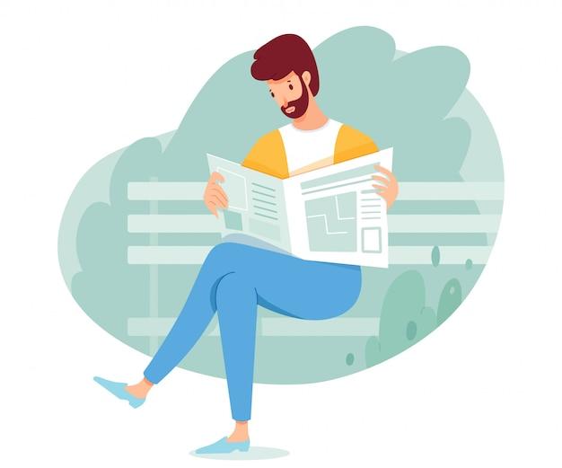 Mężczyzna czyta gazetę na ławce w parku