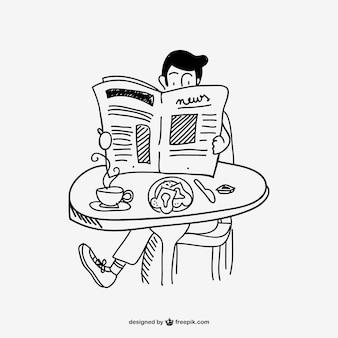 Mężczyzna czyta gazetę rysunek