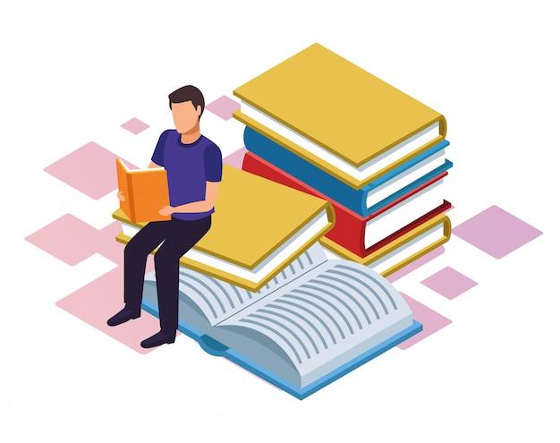 Mężczyzna czyta książkę z dużymi książkami wokoło na białym tle, kolorowy izometryczny