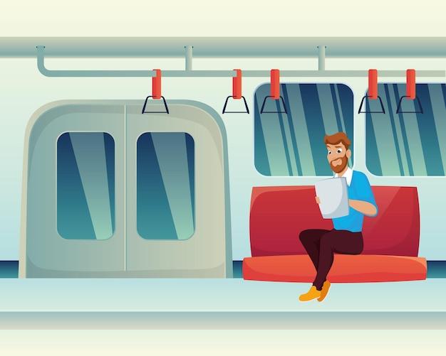 Mężczyzna czytający w metrze