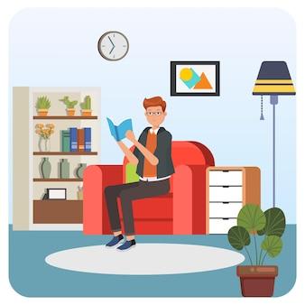 Mężczyzna czytanie książki kryty ilustracja