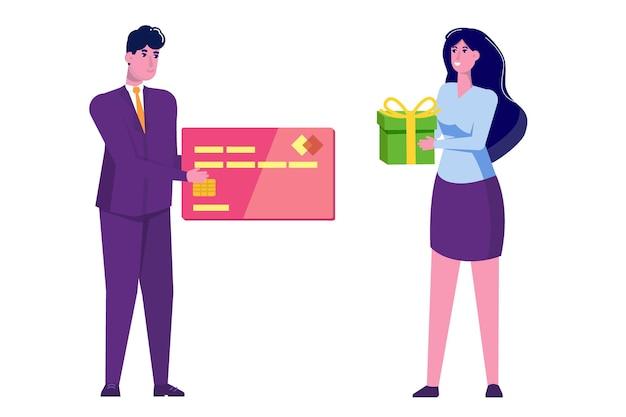 Mężczyzna daje kartę kredytową i kobieta z prezentem w płaskiej konstrukcji