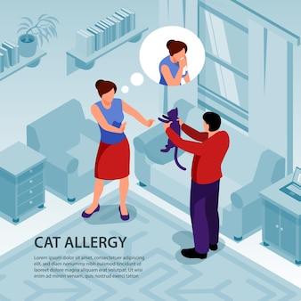 Mężczyzna daje kota kobiecie o alergii na zwierzęta domowe 3d izometryczny
