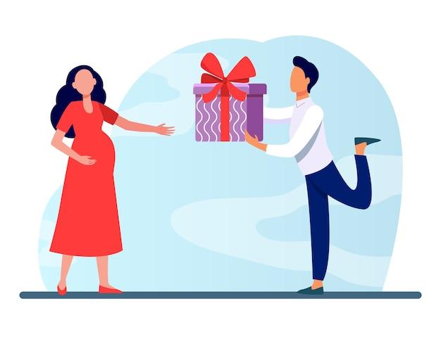 Mężczyzna daje prezent swojej ciężarnej żonie. spodziewam się, że para, rodzice, prezent dla dziecka płaski wektor ilustracja. rodzina, ciąża, miłość