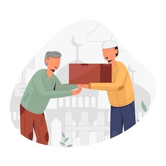 Mężczyzna daje zakat lub jałmużnę ilustrację projektu koncepcyjnego starca
